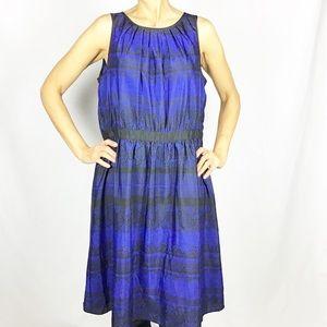 Ann Taylor Royal Blue Black Striped Lace Dress
